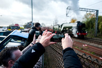 Steam loco 60103 'Flying Scotsman' stops at Diss for water, on a